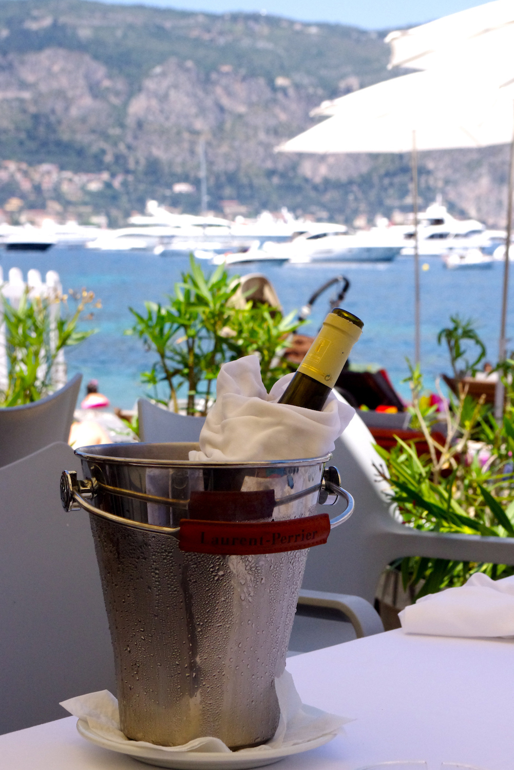 Chiled white wine at Paloma Beach Club on Cap Ferrat