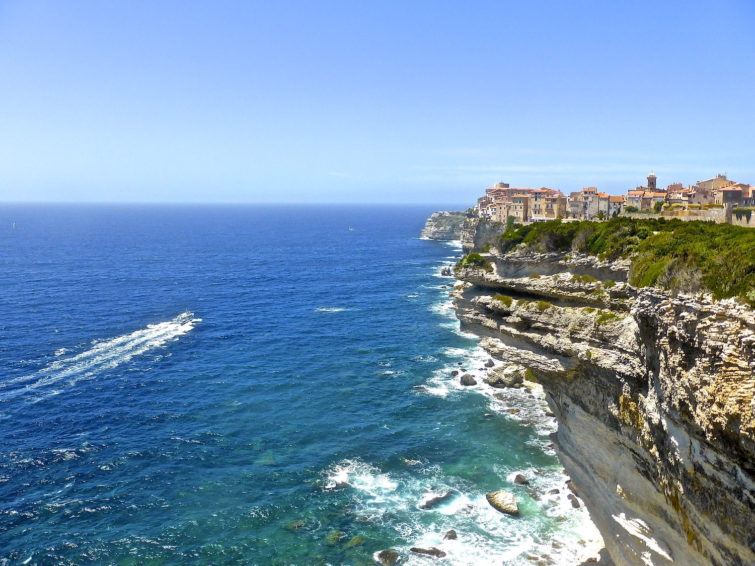 Corsica - View of Bonifacio on the clifftops of southern Corsica