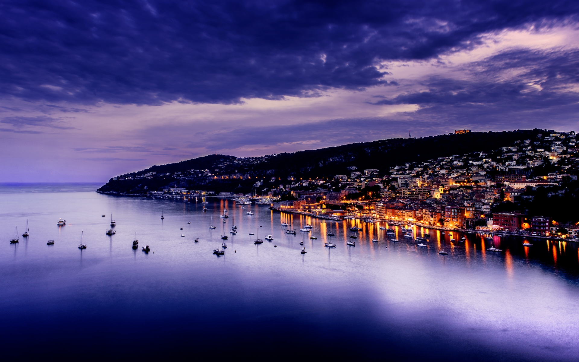 Villefranche Sur Mer on the French Riviera at dusk