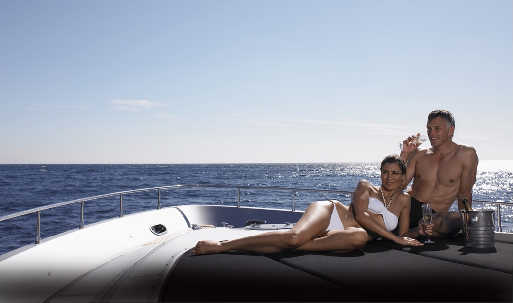 Couple onboard luxury yacht charter