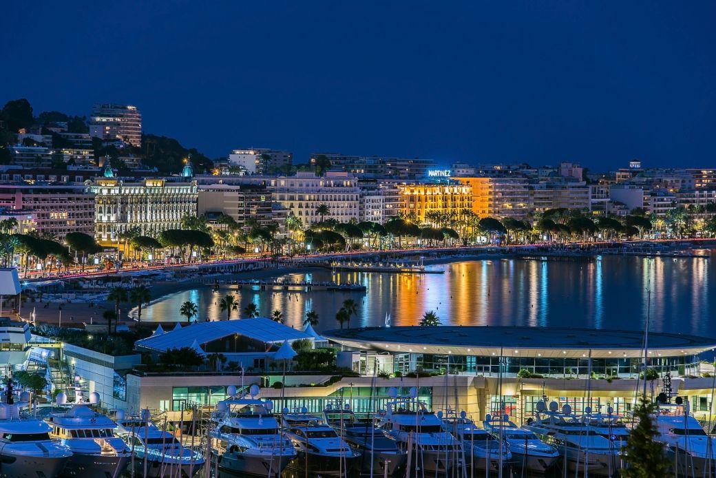 View over Cannes Port and La Croisette beaches