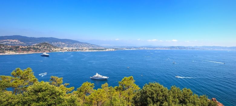 Yachts anchored at Théoule-sur-Mer near Cannes on the French Riviera