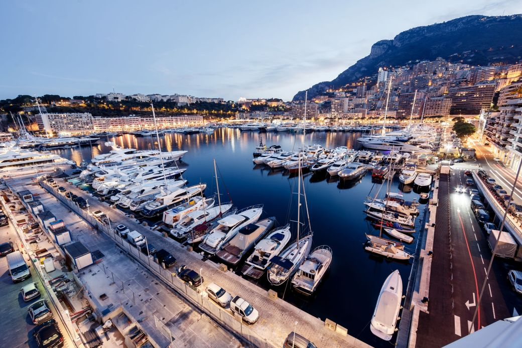 Luxury yachts in Port Hercule, Monaco