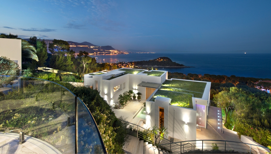 Luxury villa on Cap Ferrat at dusk