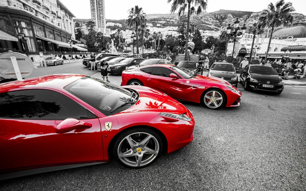 Ferraris in Casino Square, Monaco