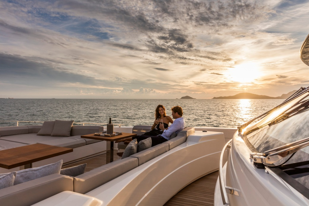 Custom Line Navetta 37 yacht at sunset