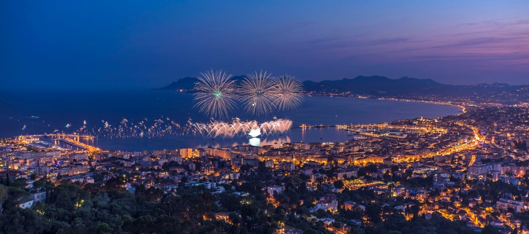 Fireworks in the bay of Cannes with yachts