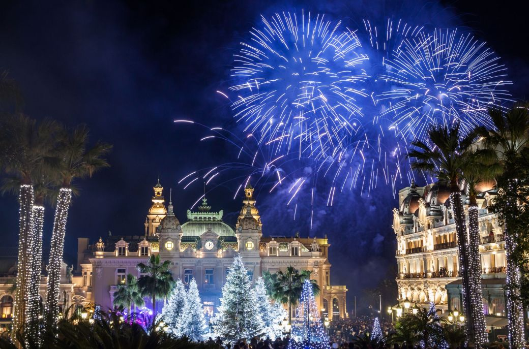 Fireworks in Monaco Monte-Carlo