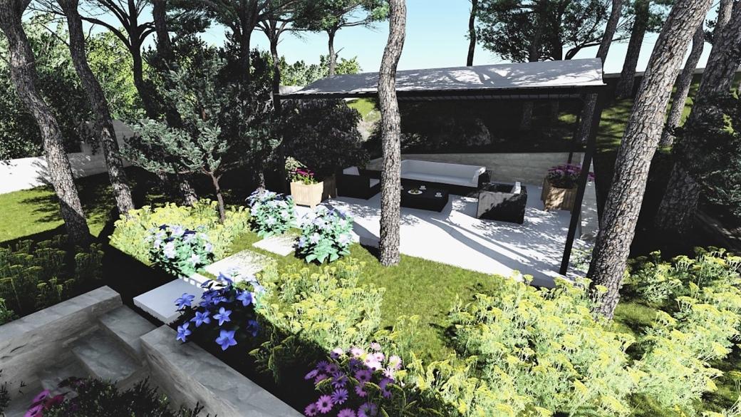 Pergola at Mougins villa, French Riviera