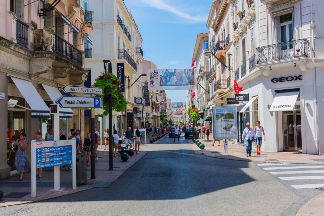 The Rue d'Antibes shopping street in Cannes