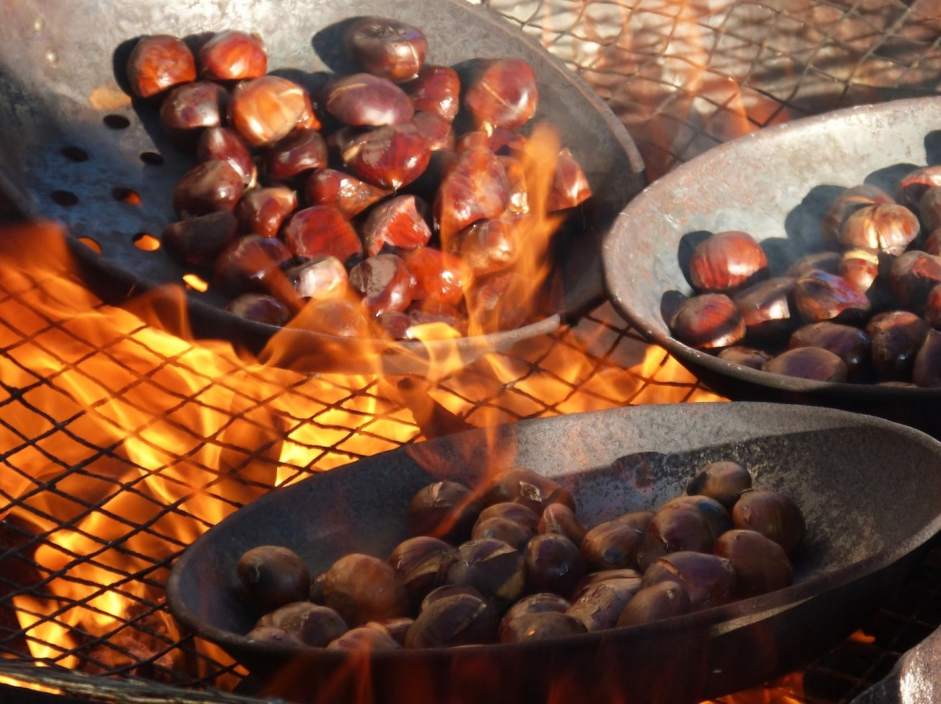 Roasting chestnuts on open flame
