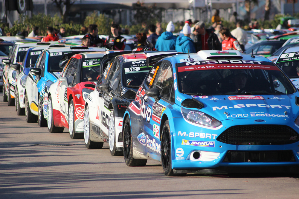 Cars lined up at the Monte Carlo Rally