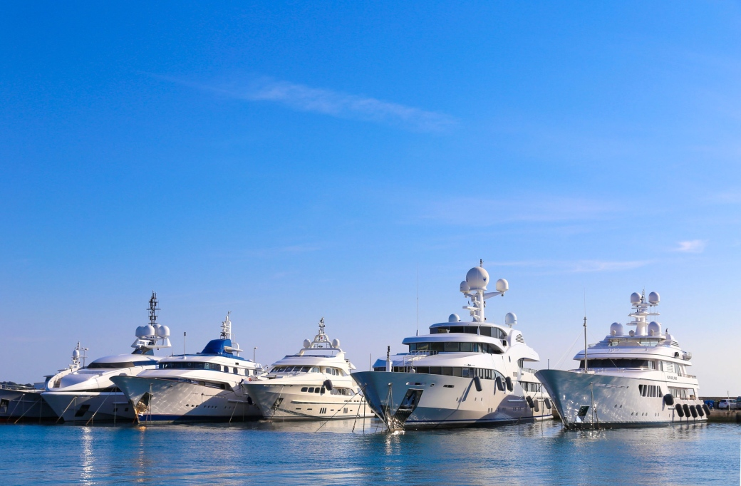 Superyachts in Cannes on the French Riviera