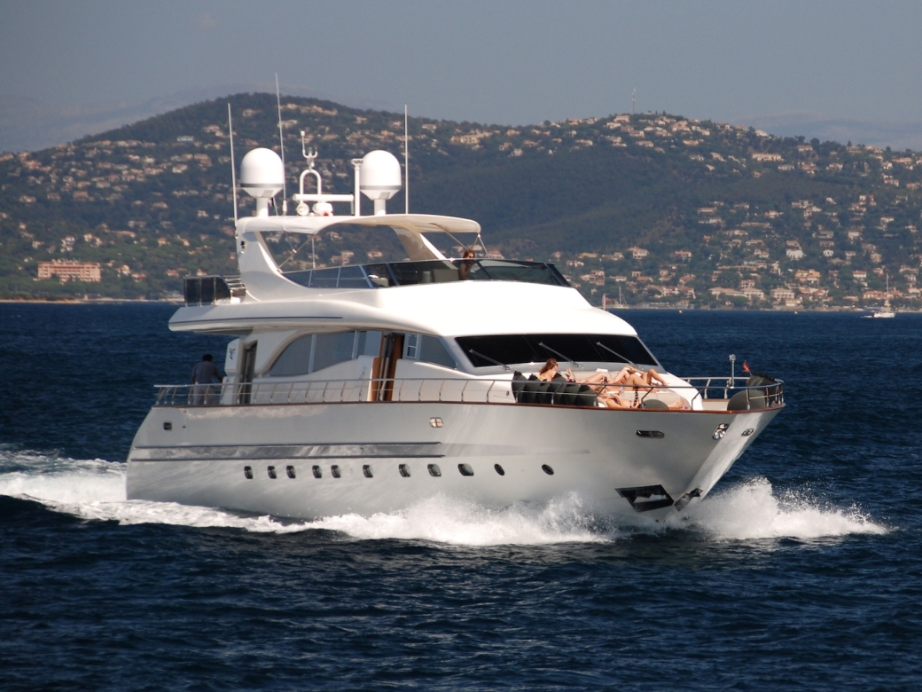 Yacht cruising off St Tropez, France