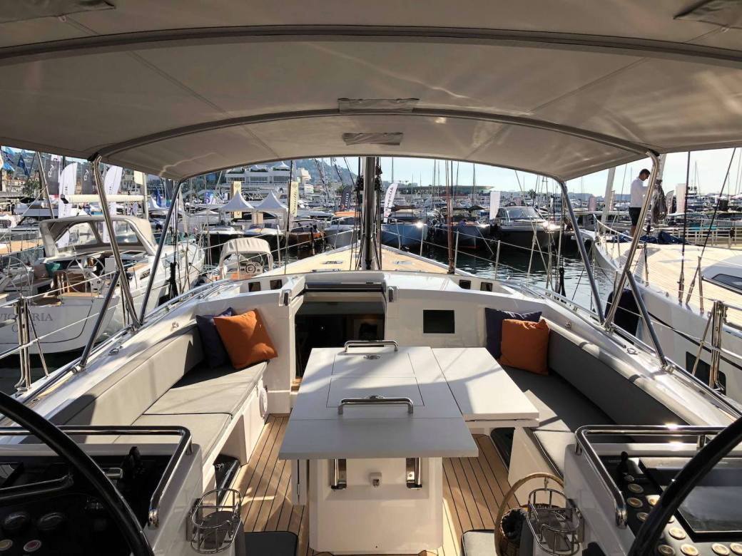 Oyster 745 sailing yacht cockpit in Cannes